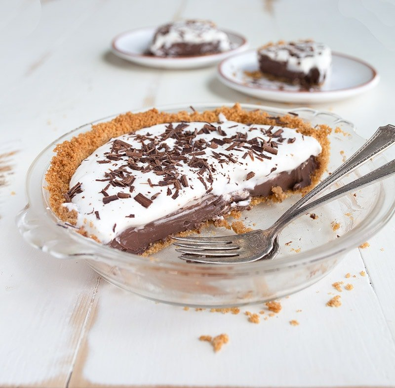 "Mini Chocolate Cream Pie for Two. Made in a small pie pan that measures 6"" across."