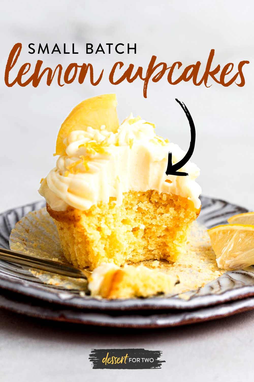 Small batch lemon cupcakes graphic.