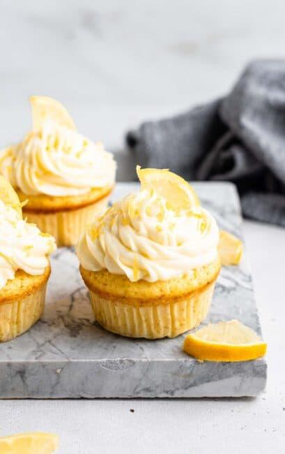 Lemon cupcakes with lemon cream cheese frosting.