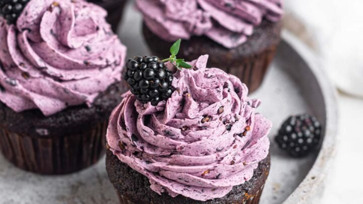 Four chocolate blackberry cupcakes on a white plate.