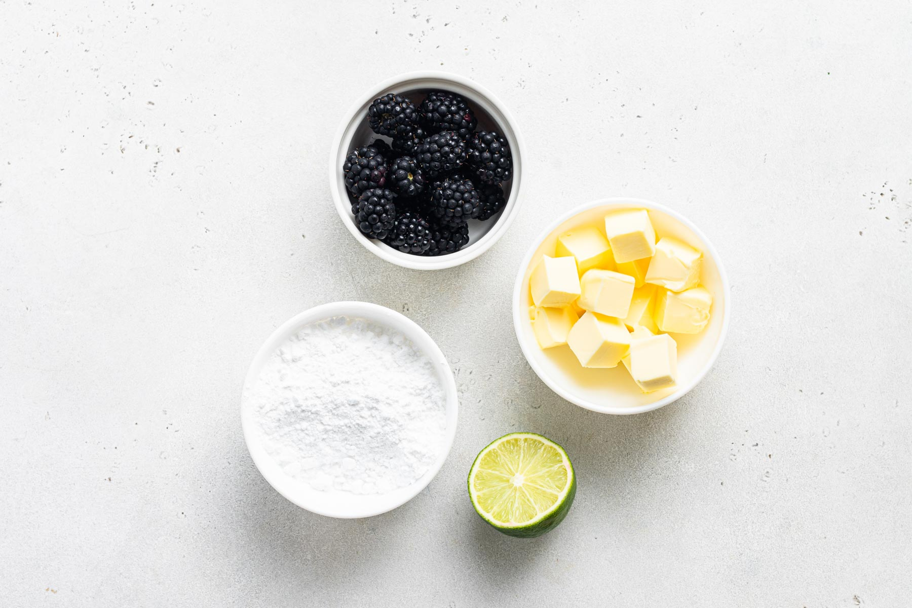 Ingredients for blackberry buttercream.