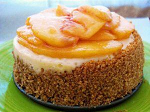 Cheesecake with Honey-ed Peaches