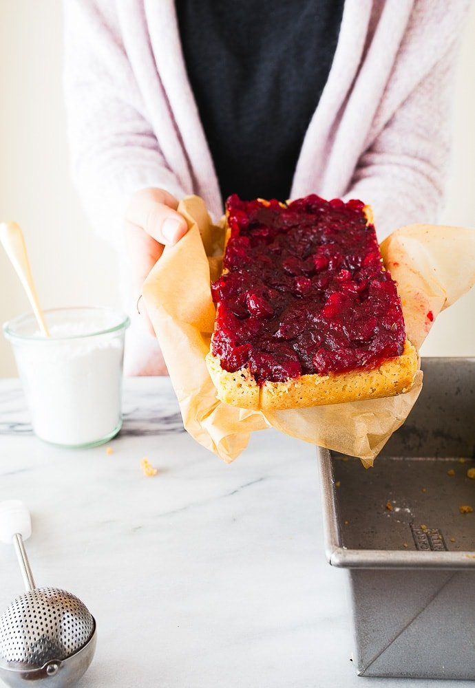 Recipes to use leftover cranberry sauce-cranberry shortbread bars