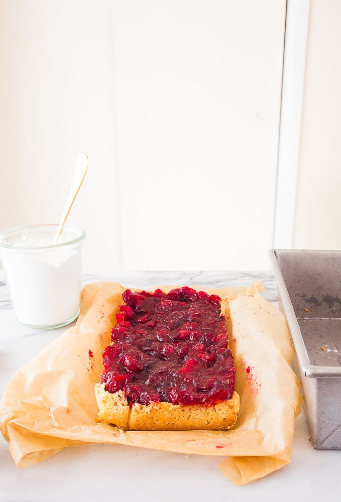 Cranberry sauce cookie bars with shortbread crust