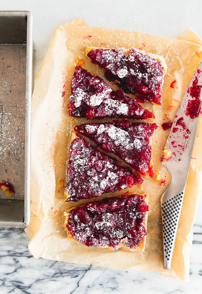 Cranberry Shortbread Bars made with leftover cranberry sauce