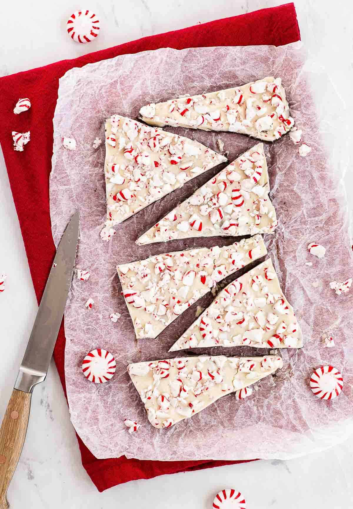 peppermint bark recipe on parchment paper