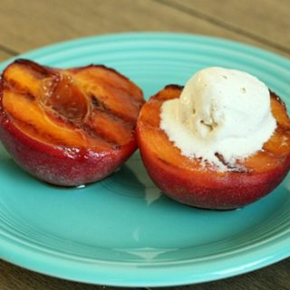 Grilled peaches with Frangelico sauce.