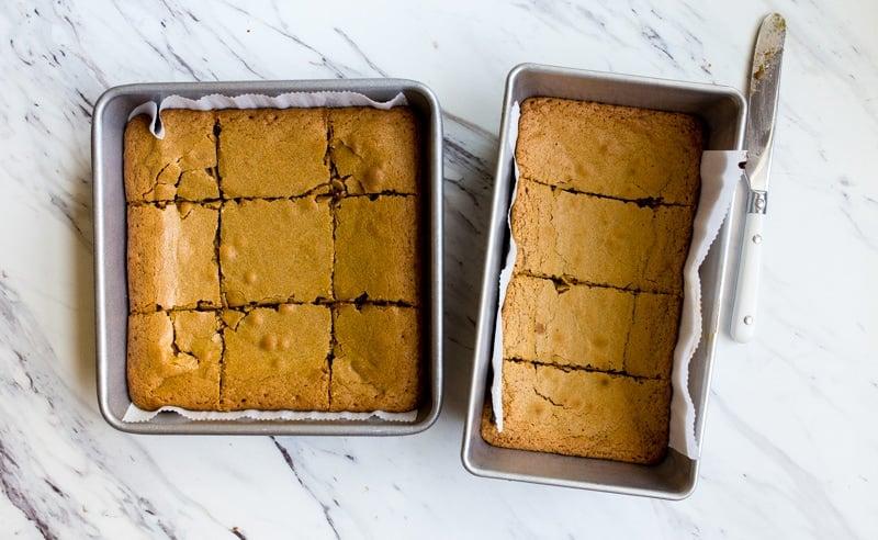 blonde brownies in pan