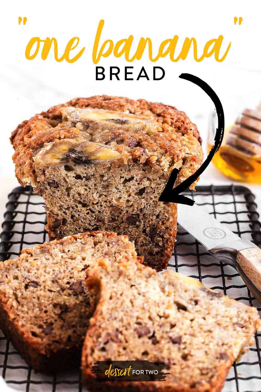 Banana Bread recipe, small batch uses just 1 banana. Mini banana bread loaf in a small pan. One banana recipes!