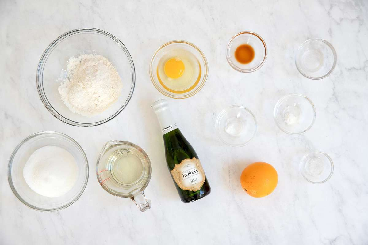 Ingredients for champagne cupcakes in little bowls.