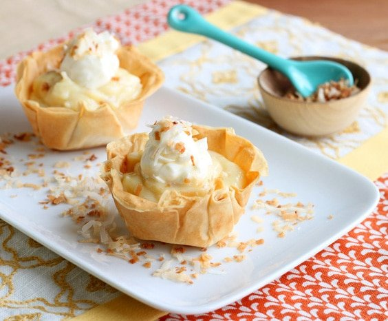 Mini Coconut Cream Pies made in muffin pans.
