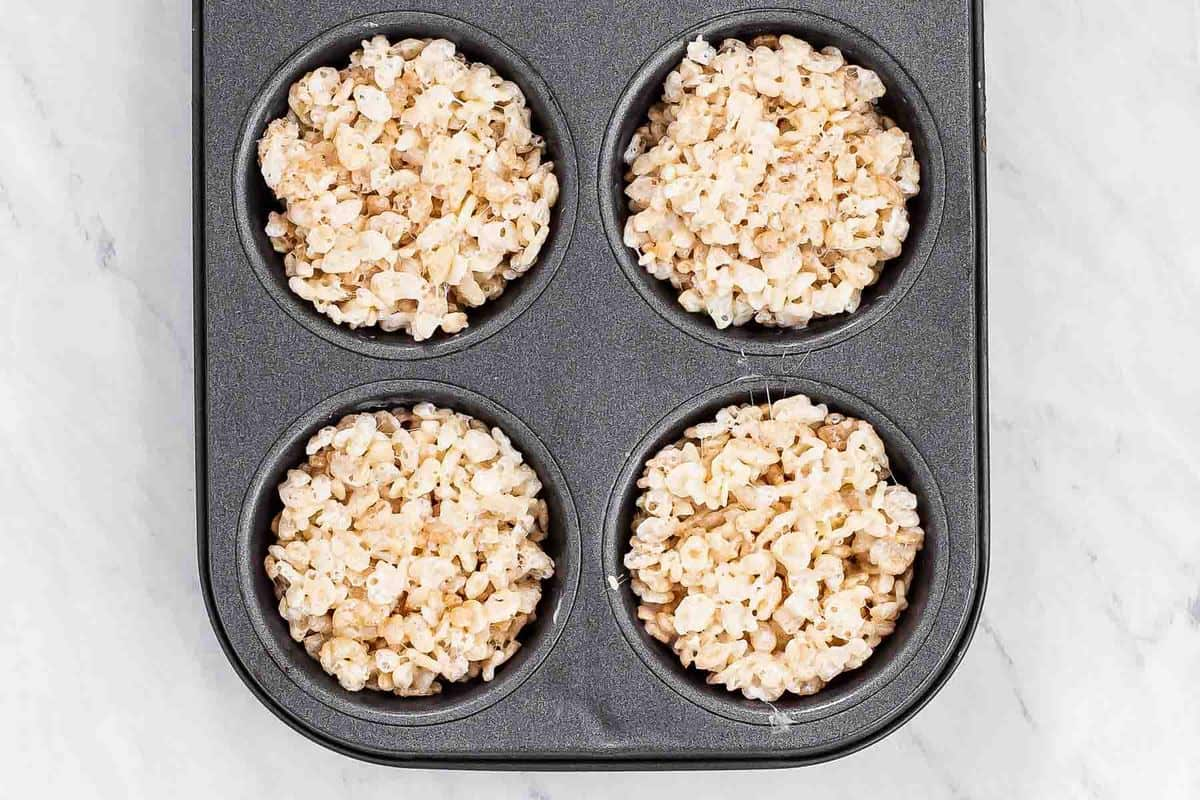 rice krispie treats in a muffin pan