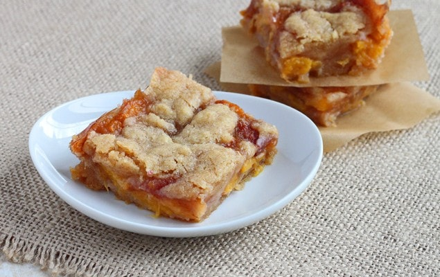Drunken Peach Pie Bars