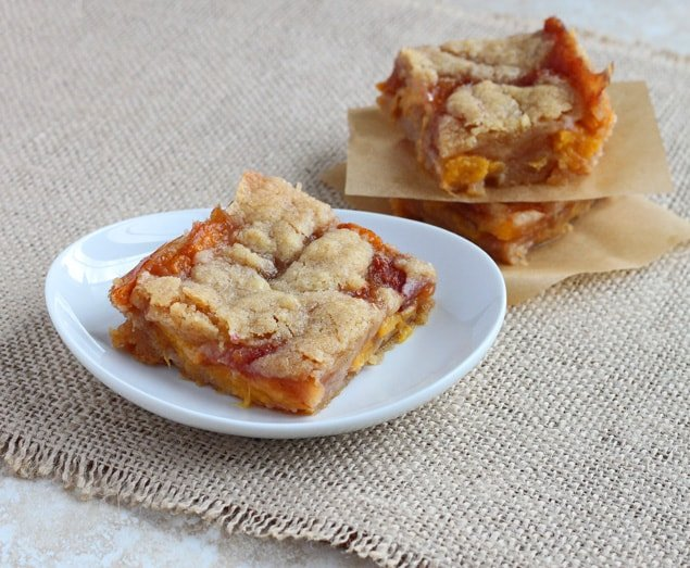 Drunken Peach Bars - DessertForTwo.com