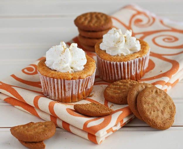 Mini Pumpkin cheesecakes made in a muffin pan