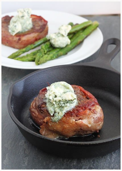 Filet Mignon with Bleu Cheese Butter--Dinner For Two from DessertForTwo.com