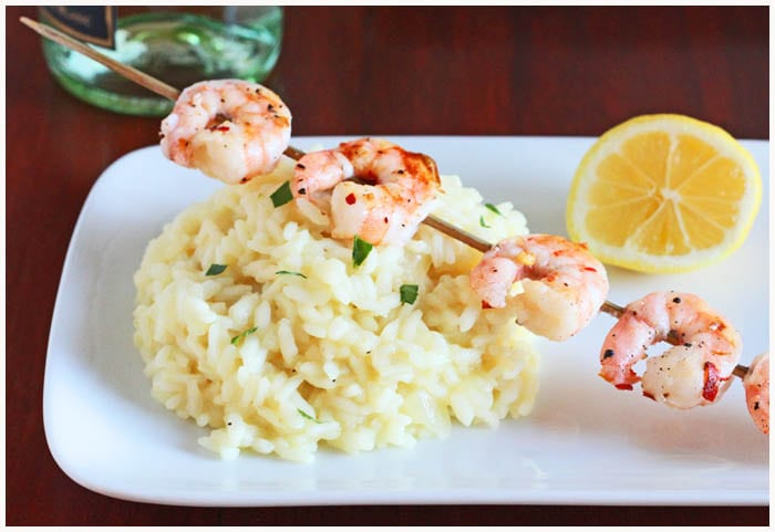 Lemon Risotto with Grilled Shrimp - Dinner For Two from DessertForTwo.com