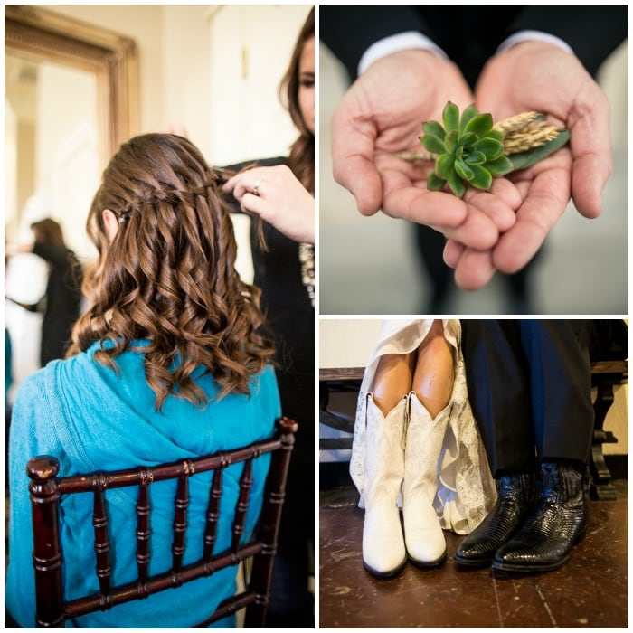 Getting ready:  I chose a waterfall braid for my hair style. It was off my face, yet still down. I loved it. Brian took a photo of his boutonniere before pinning it on. I love the succulents + wheat. We both wore boots for the Big Day.