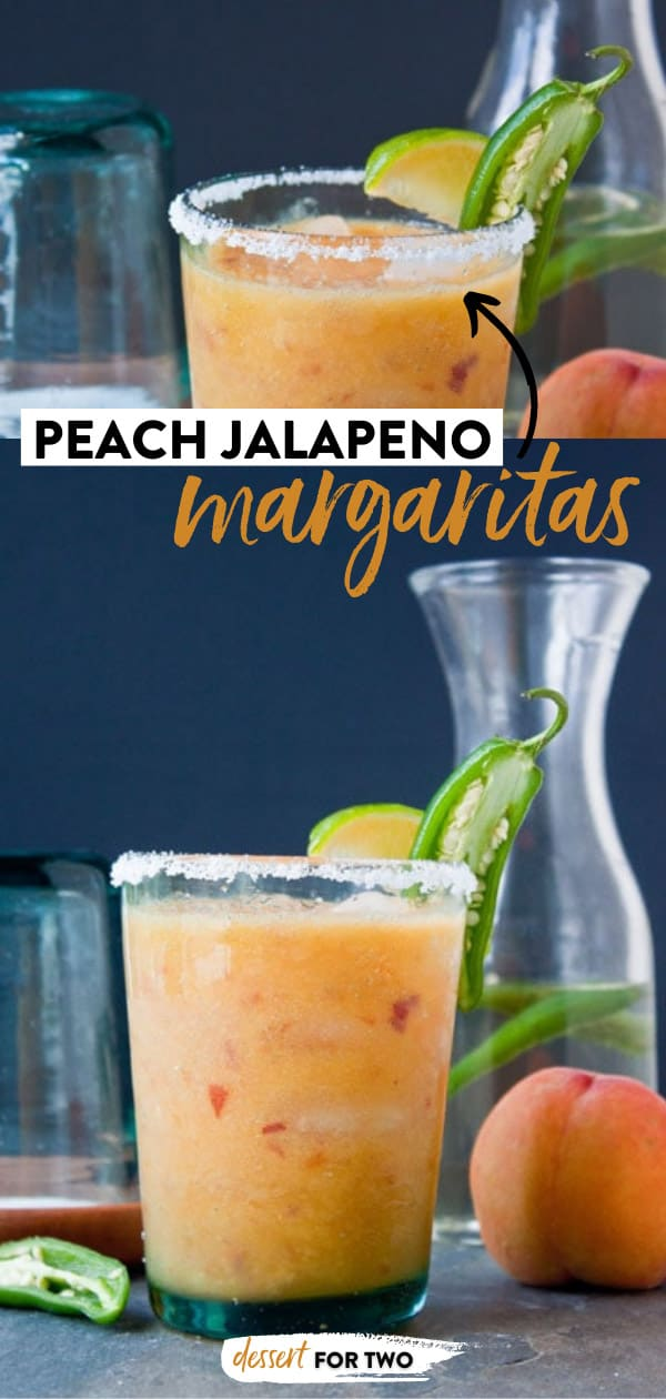 Peach jalapeno margaritas garnished with lime and jalapeno.