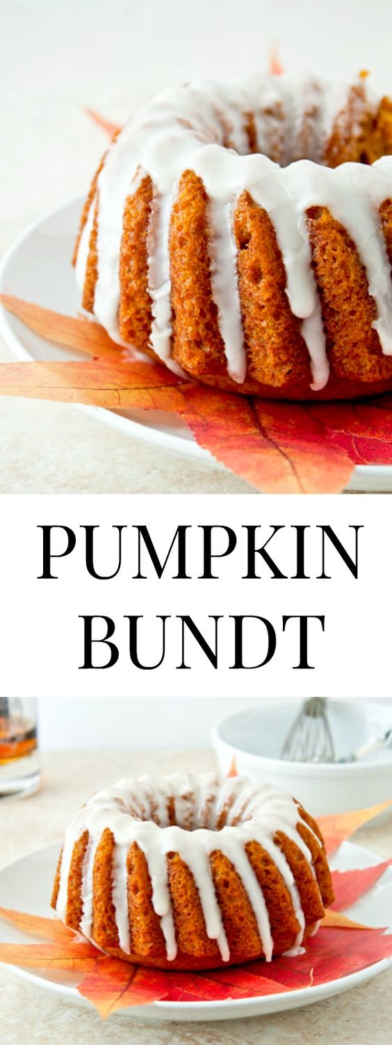 Mini pumpkin bundt cake with whiskey glaze. Made in a mini bundt pan that holds 3 cups of batter.