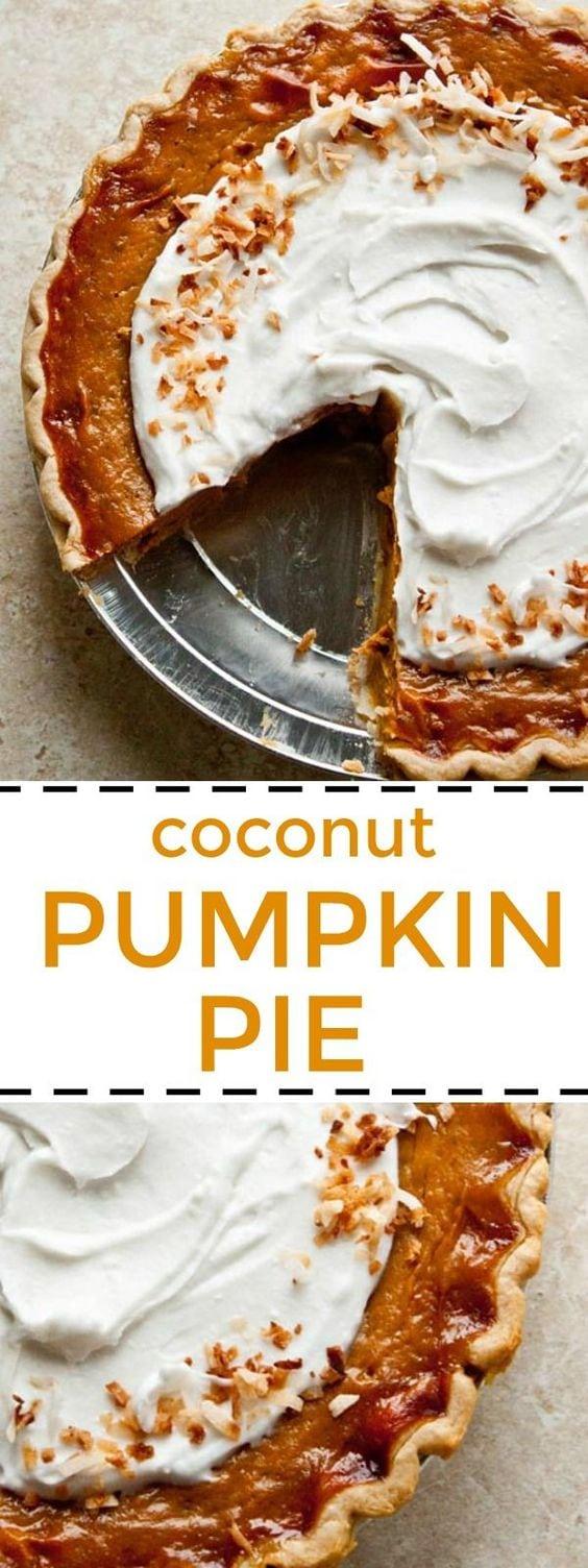 Pumpkin Pie with coconut milk instead of evaporated milk! Not exactly vegan, but no more canned milk! Orange spice pumpkin pie is so good with coconut whipped cream and orange zest. #pumpkin #pumpkinpie #pumpinpiecoconutmilk #pumpkinpiewithcoconutmilk #coconutpumpkinpie