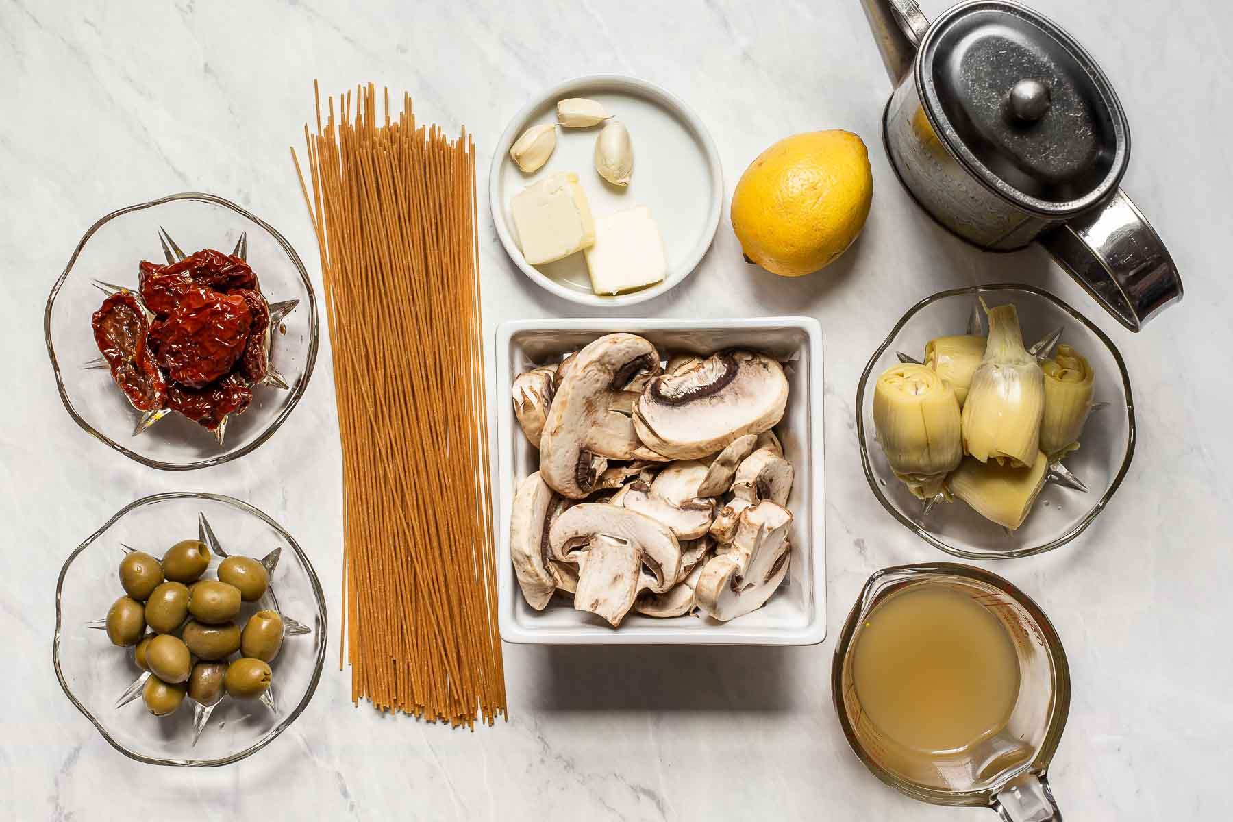 Ingredients for Mediterranean Pasta.