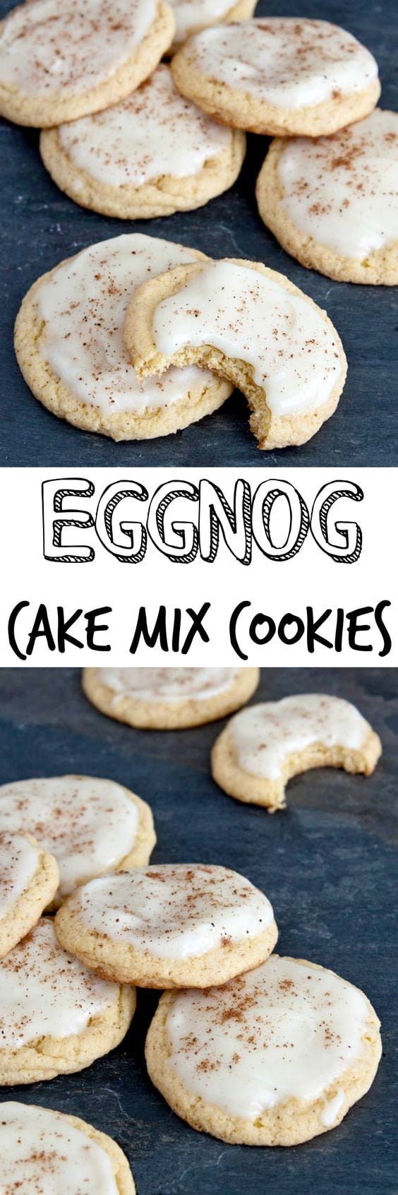 Eggnog cookies made with a cake mix! Use eggnog with the cake mi and in the delicious frosting! Don't forget the nutmeg! #eggnogcookies #eggnog #cakemix #cakemixcookies #christmas #christmasdessert #christmascookie