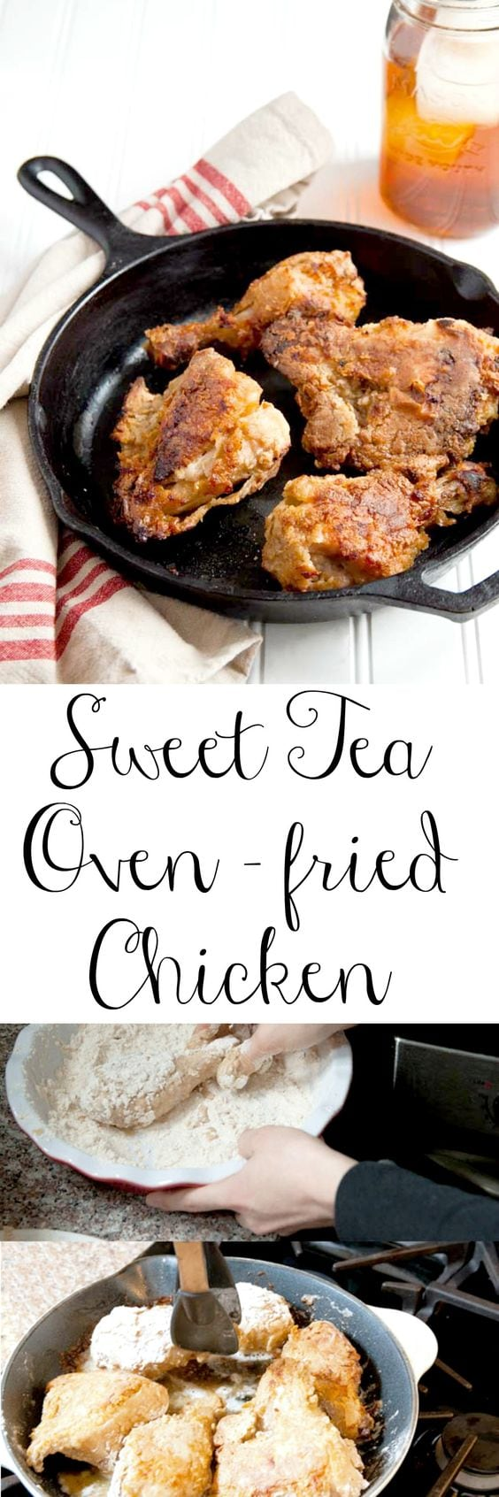 Sweet Tea fried chicken, the best of the best! My fried chicken is oven fried, making it so much easier! #sweettea #sweetteafriedchicken #friedchicken #ovenfried