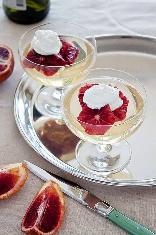 Wine Jello: Moscato Wine Jello with Oranges and Whipped Cream