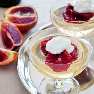 Moscato Gelee (wine jello) with blood oranges
