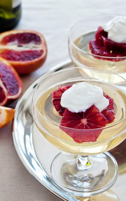 Moscato Gelee (wine jello) with blood oranges