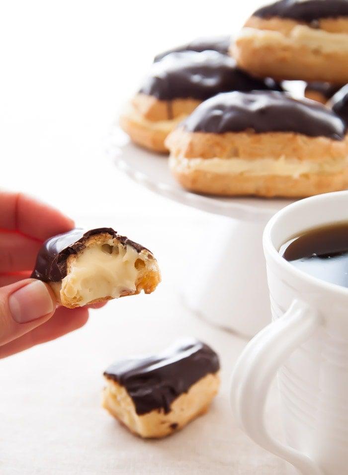Mini Chocolate Eclairs | dessertfortwo.com