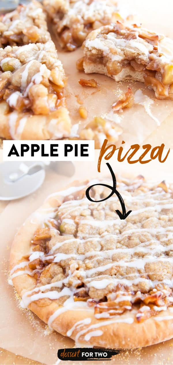 Apple Pie pizza with vanilla icing drizzle.