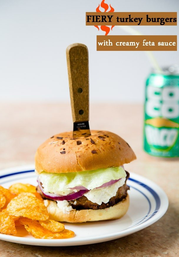 Spicy Turkey Burgers with Cool and Creamy Feta Sauce   @dessertfortwo