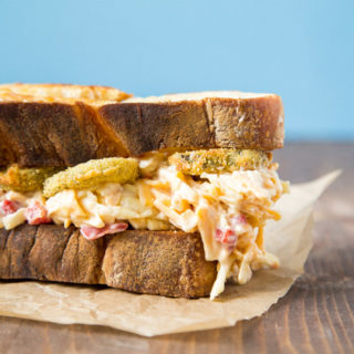 Pimiento Cheese and Fried Pickle Sandwich | dessertfortwo.com