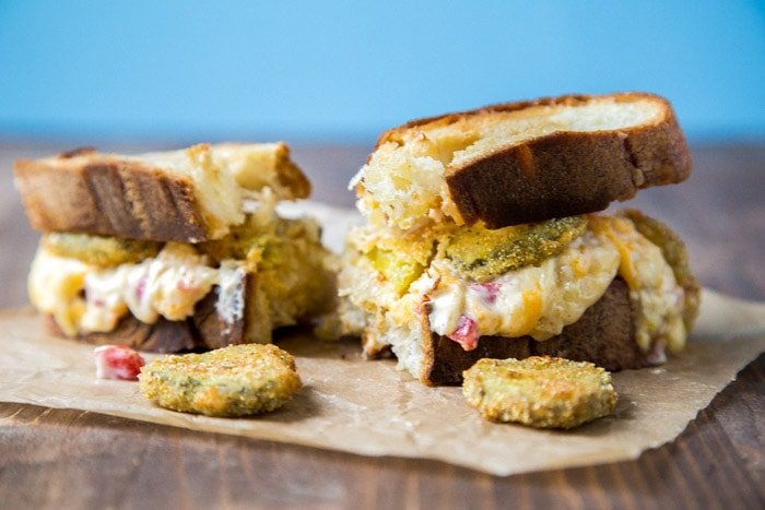 Grilled Pimento Cheese with Fried Pickles | DessertforTwo.com
