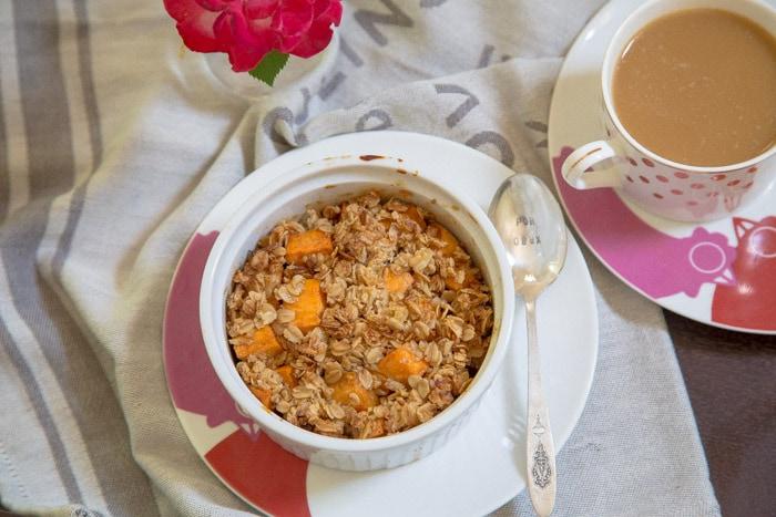 Sweet Potato Cobbler for breakfast @dessertfortwo