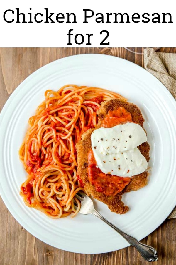 Easy chicken Parmesan for two! Romantic date night dinner for two! #chickenparmesan #easychickenparmesan #chickenparm #dinnerfortwo #cookingfortwo