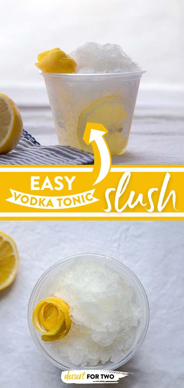 Vodka tonic slush with lemon twist.