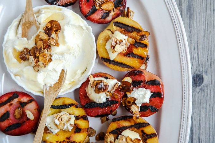 Grilled stone fruit with mascarpone and candied almonds @dessertfortwo