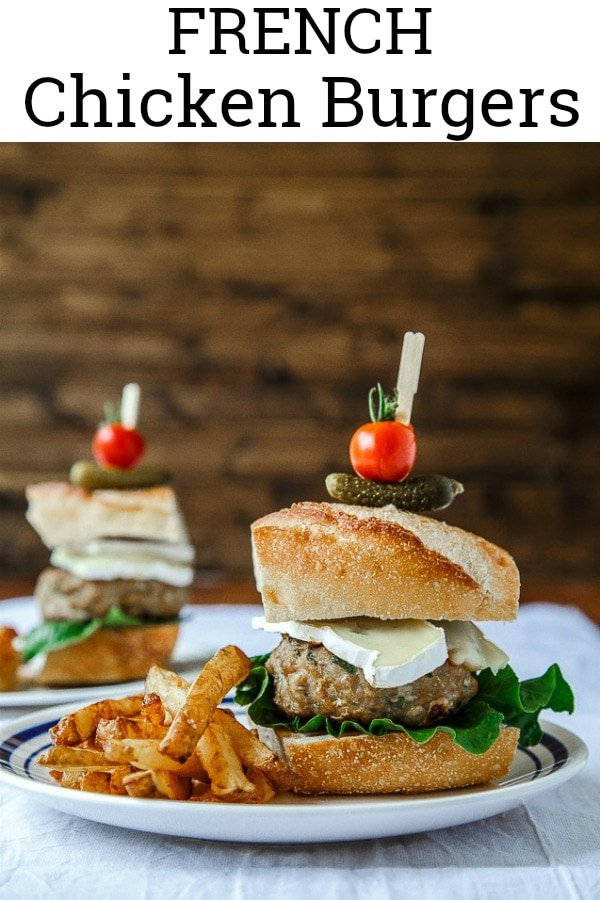 French Chicken Burgers with French Fries. This French fry method starts in cold oil, and only requires one fry! #french #chickenburger #brieburger #brie #frenchfries #frenchfry #burgers