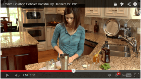 Peach Jam Bourbon Cobbler Cocktail (video!)