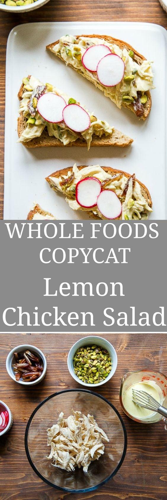 Lemon Chicken Salad: copycat Whole Foods Lemon Aioli Chicken Salad with Pistachios and Dates! #chickensalad #lemon #lemonchicken #lemonaioli #wholefoods #wholefoodscopycat