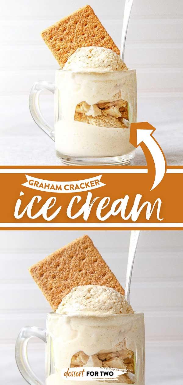 Graham cracker ice cream garnished with graham cracker sheet.