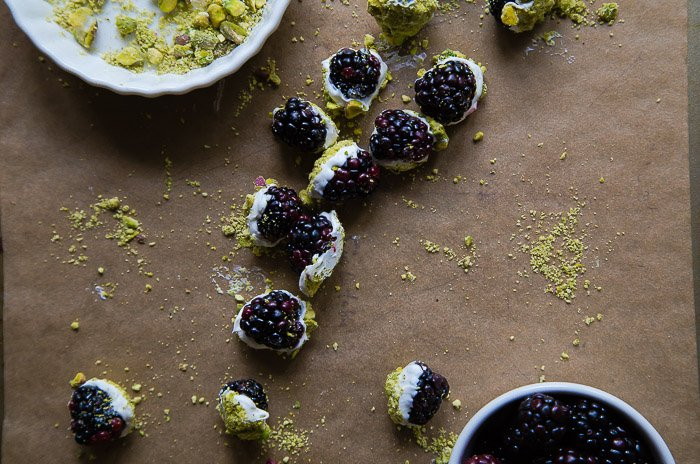 White chocolate dipped blackberries @dessertfortwo