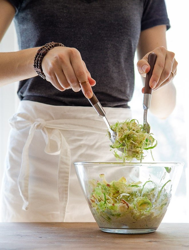 Brussels Sprout Slaw with Apple @dessertfortwo