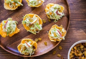 Brussels Sprout Slaw in Cheddar Cups @dessertfortwo