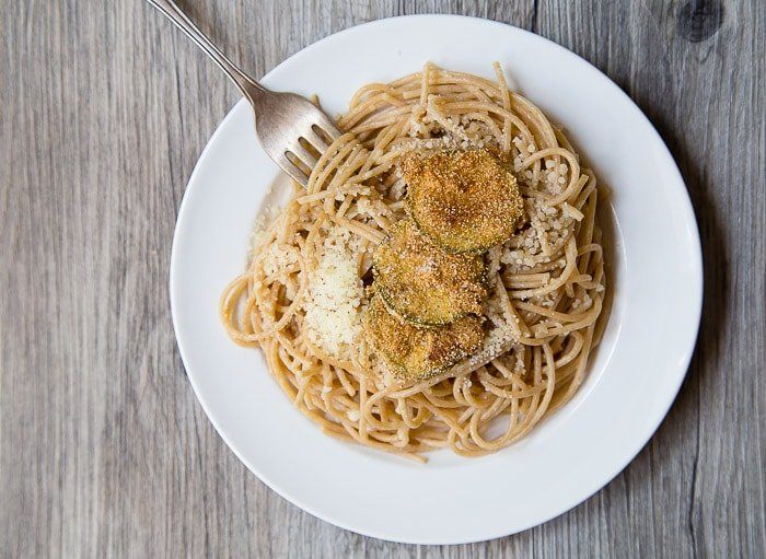 Spaghetti with fried zucchini @dessertfortwo