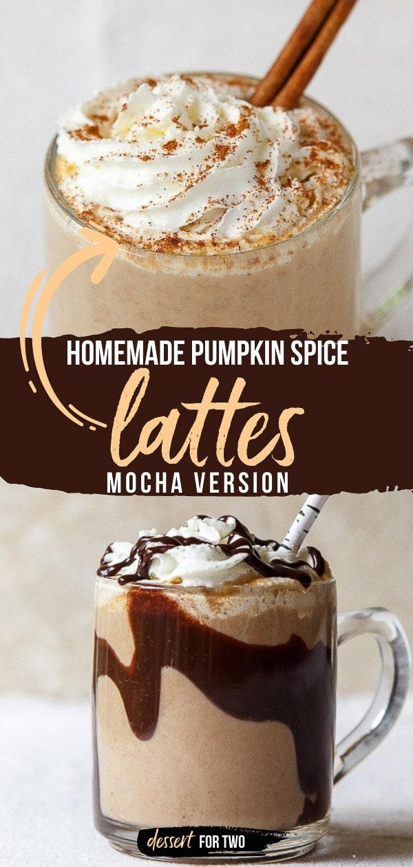 Homemade pumpkin spice latte recipe, plus a pumpkin mocha variation. Pumpkin spice all the things!