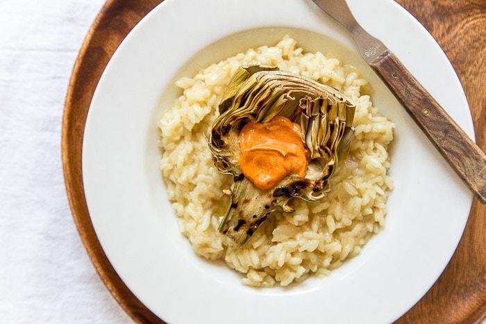 Grilled Artichoke Risotto @dessertfortwo